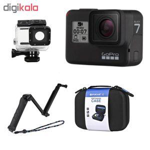 دوربین فیلم برداری ورزشی گوپرو مدل HERO7 Black Quick Stories به همراه قاب ضدآب لمسی و مونوپاد 3Way
