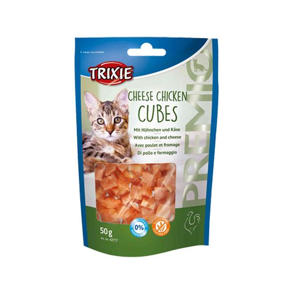 غذای تشویقی گربه تریکسی مدل Cheese Chicken Cubes وزن 50 گرم