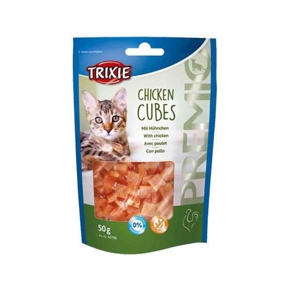غذای تشویقی گربه تریکسی مدل Chicken Cubes وزن 50 گرم