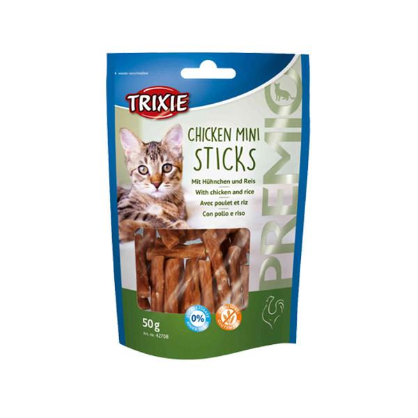 غذای تشویقی گربه تریکسی مدل Chicken Mini Sticks وزن 50 گرم