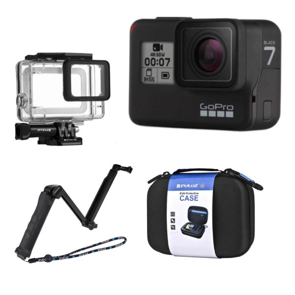 دوربین فیلم برداری ورزشی گوپرو مدل HERO7 Black Quick Stories به همراه قاب ضدآب و مونوپاد 3Way و کیف پلوز