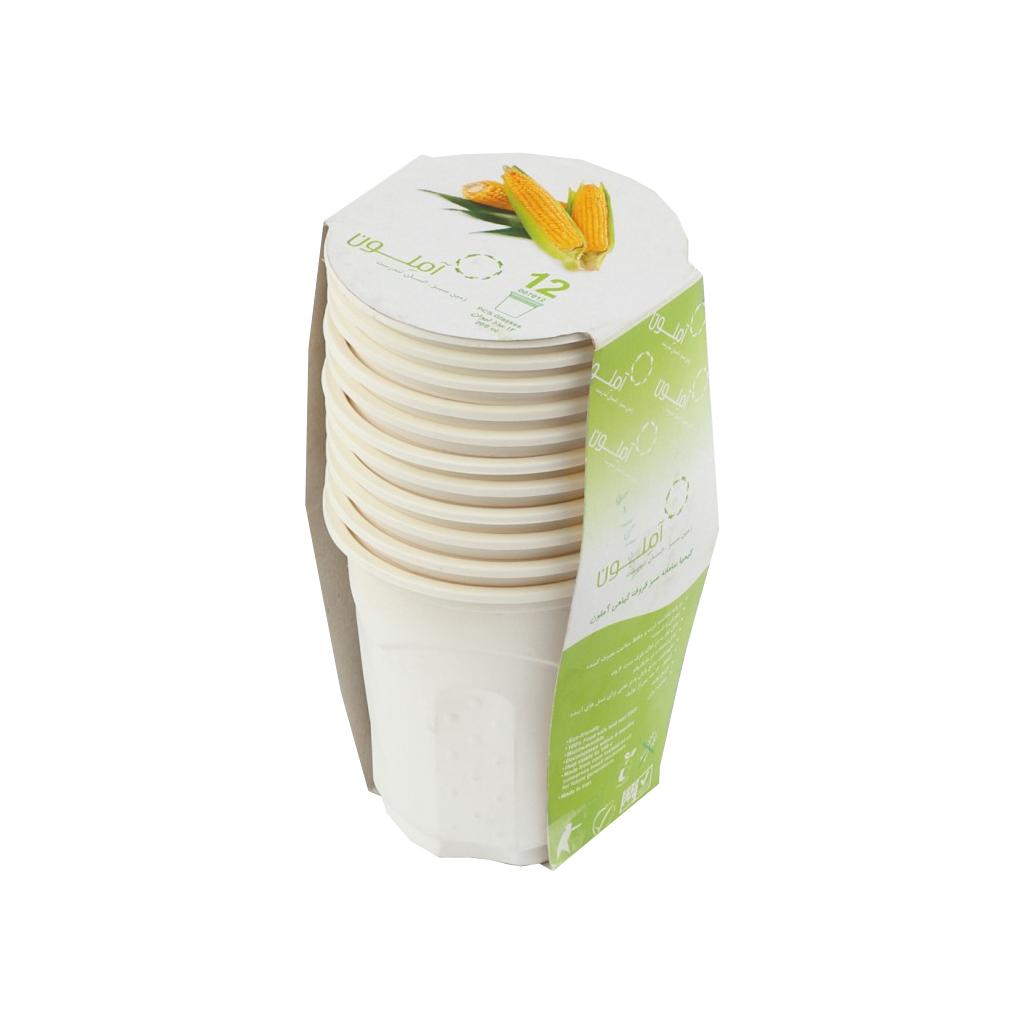 عکس لیوان گیاهی یکبار مصرف آملون کد 200CC12 بسته 12 عددی