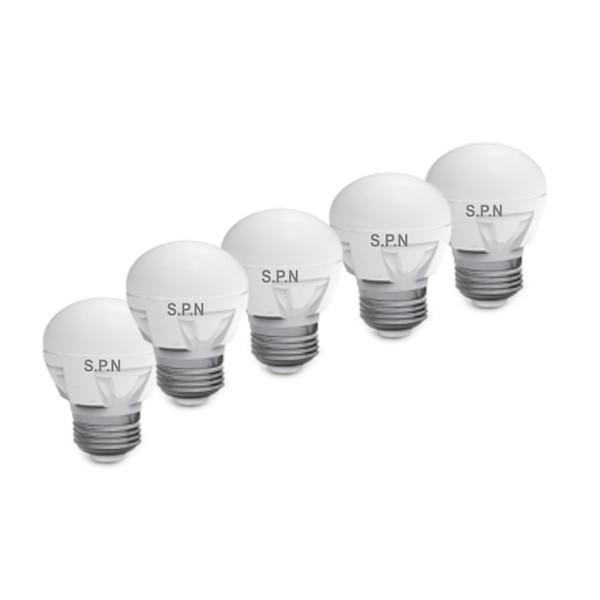 لامپ ال ای دی 6 وات اس پی ان مدل G45 پایه E27 بسته 5 عددی