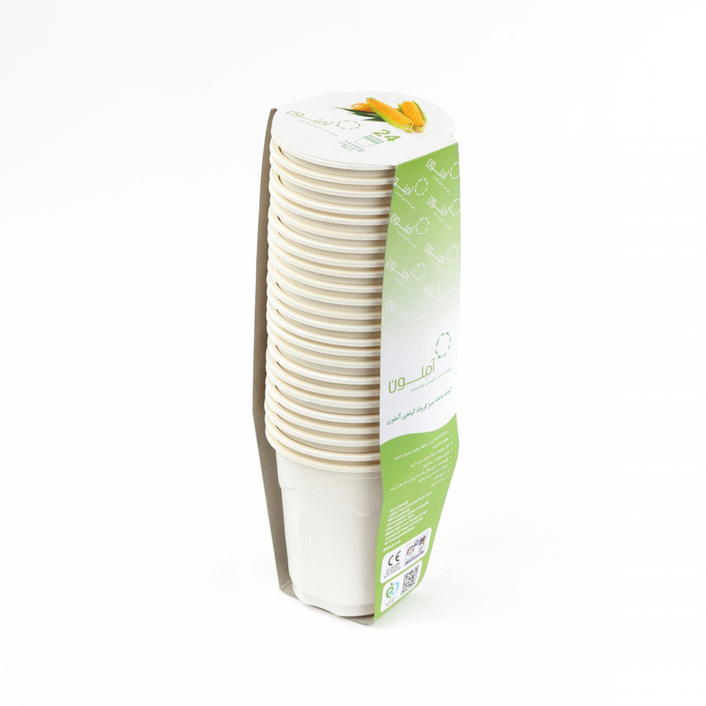 لیوان گیاهی یکبار مصرف آملون کد 200CC24 بسته 24 عددی