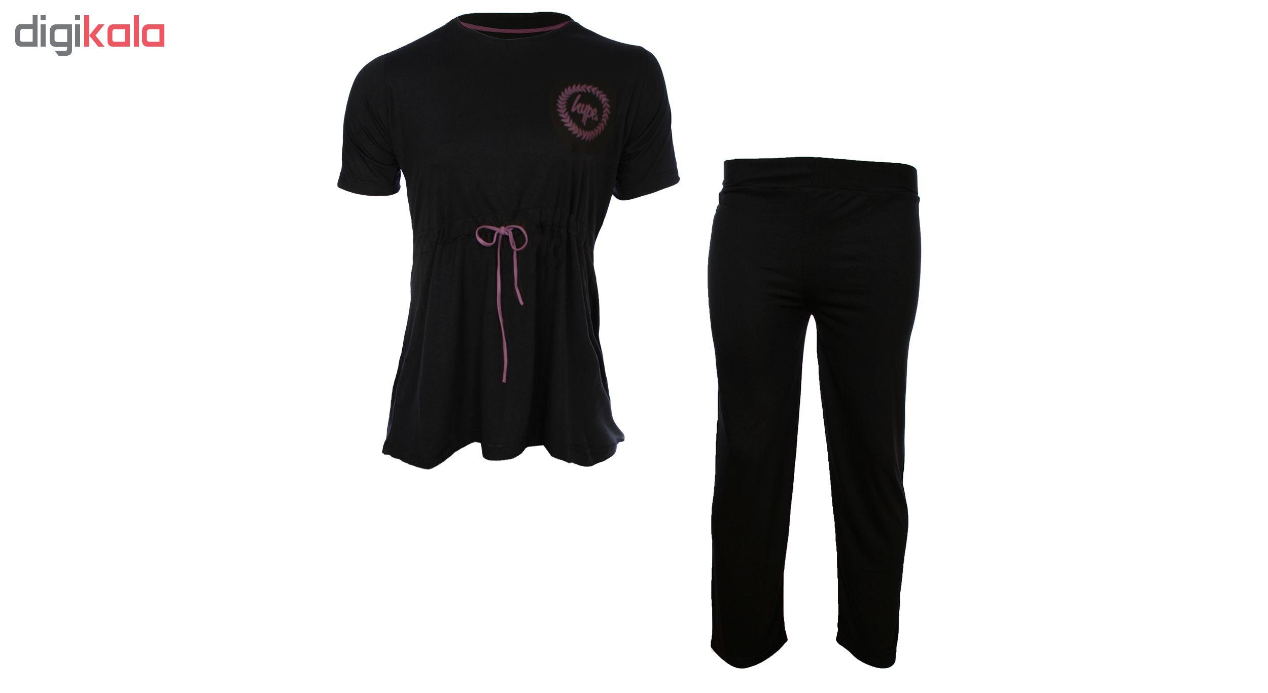 خرید                                      ست تیشرت و شلوار زنانه کمر بندی مدل 003 رنگ مشکی