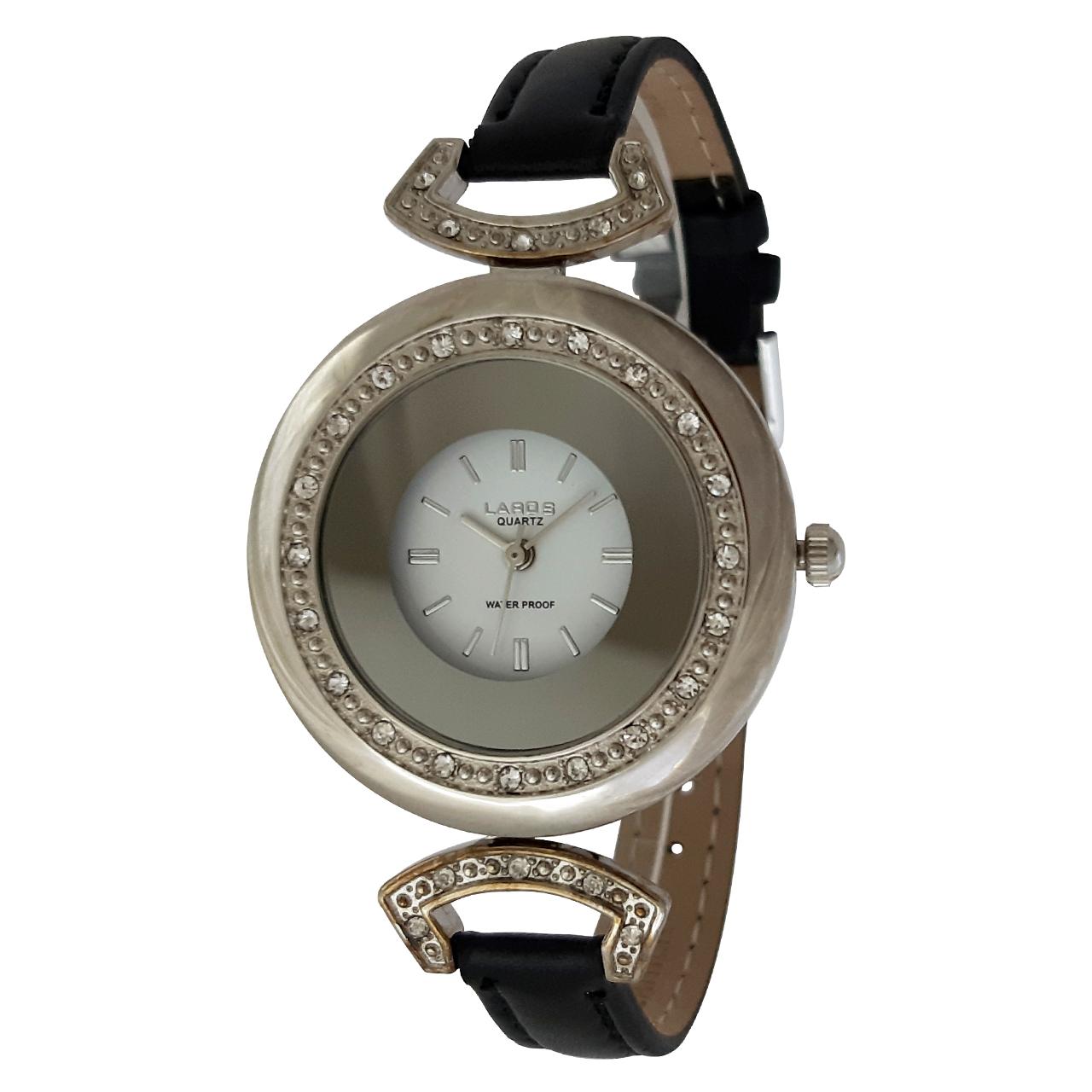 خرید ساعت مچی عقربه ای زنانه لاروس مدل 512-74762 به همراه دستمال مخصوص برند کلین واچ