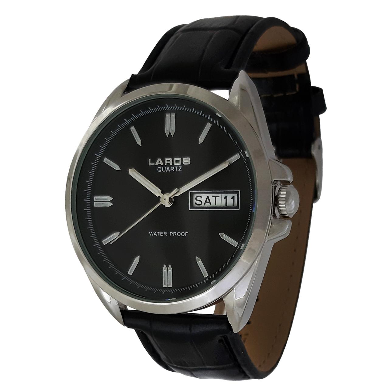 ساعت مچی عقربه ای مردانه لاروس مدل 0917-80089-42-s-dd به همراه دستمال مخصوص برند کلین واچ 36