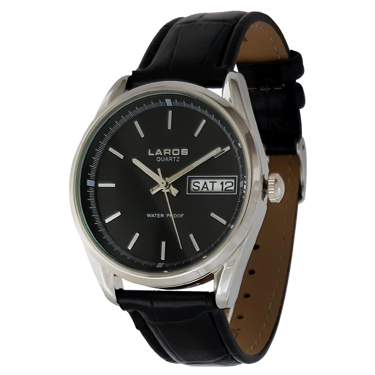 ساعت مچی عقربه ای مردانه لاروس مدل 1117-80127-s-dd به همراه دستمال مخصوص برند کلین واچ