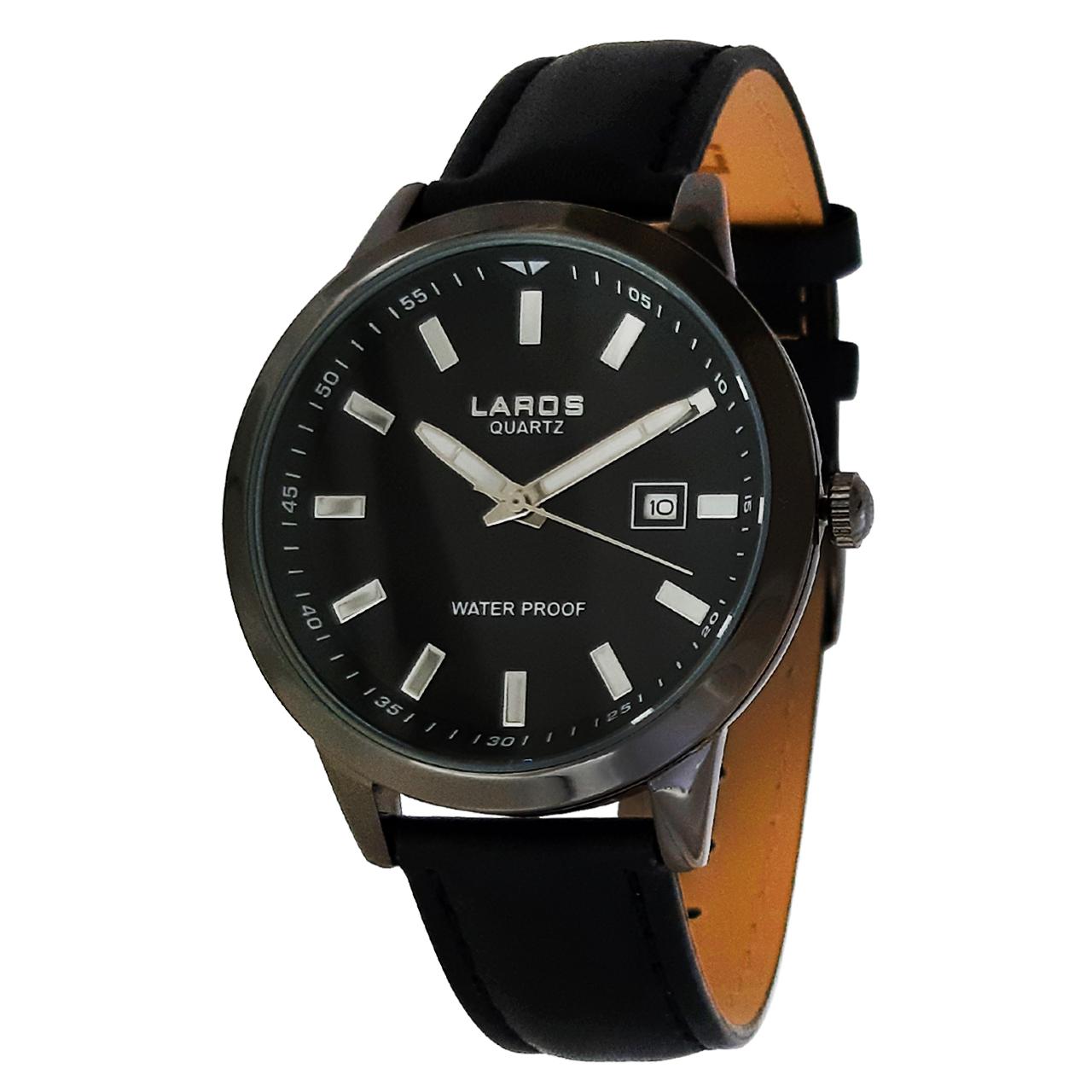 ساعت مچی عقربه ای مردانه لاروس مدل 1116-79949-s-d به همراه دستمال مخصوص برند کلین واچ 9