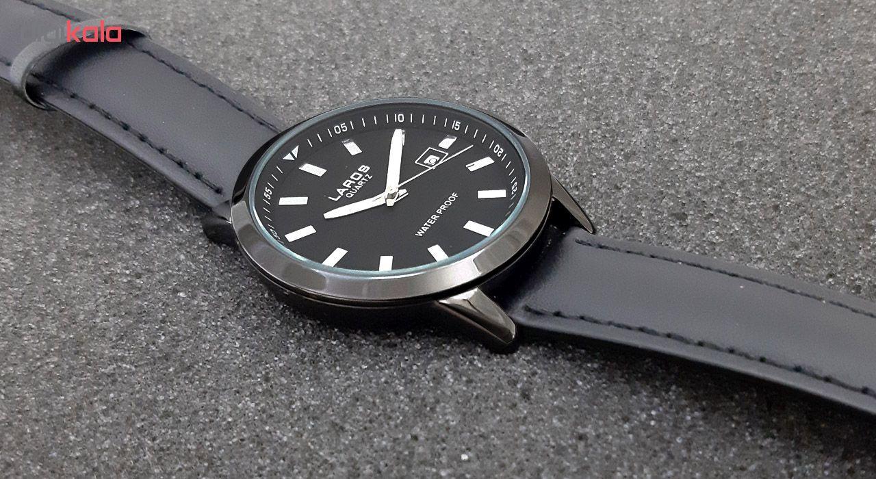 ساعت مچی عقربه ای مردانه لاروس مدل 1116-79949-s-d به همراه دستمال مخصوص برند کلین واچ