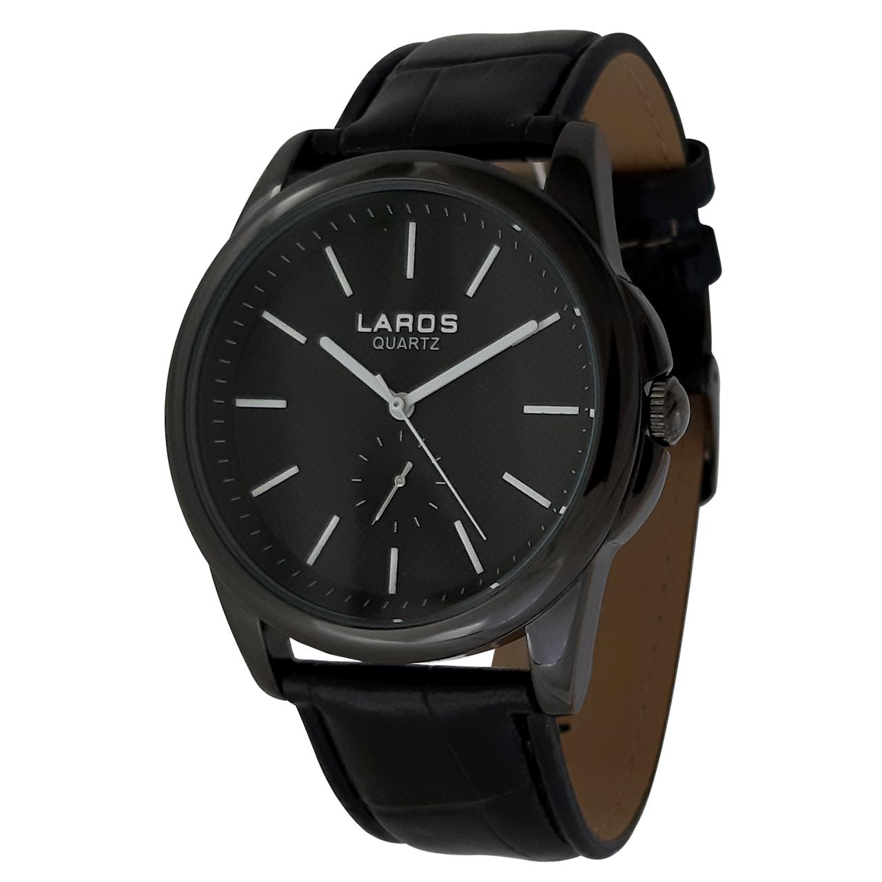 ساعت مچی عقربه ای مردانه لاروس مدل 1117-80119-s به همراه دستمال مخصوص برند کلین واچ