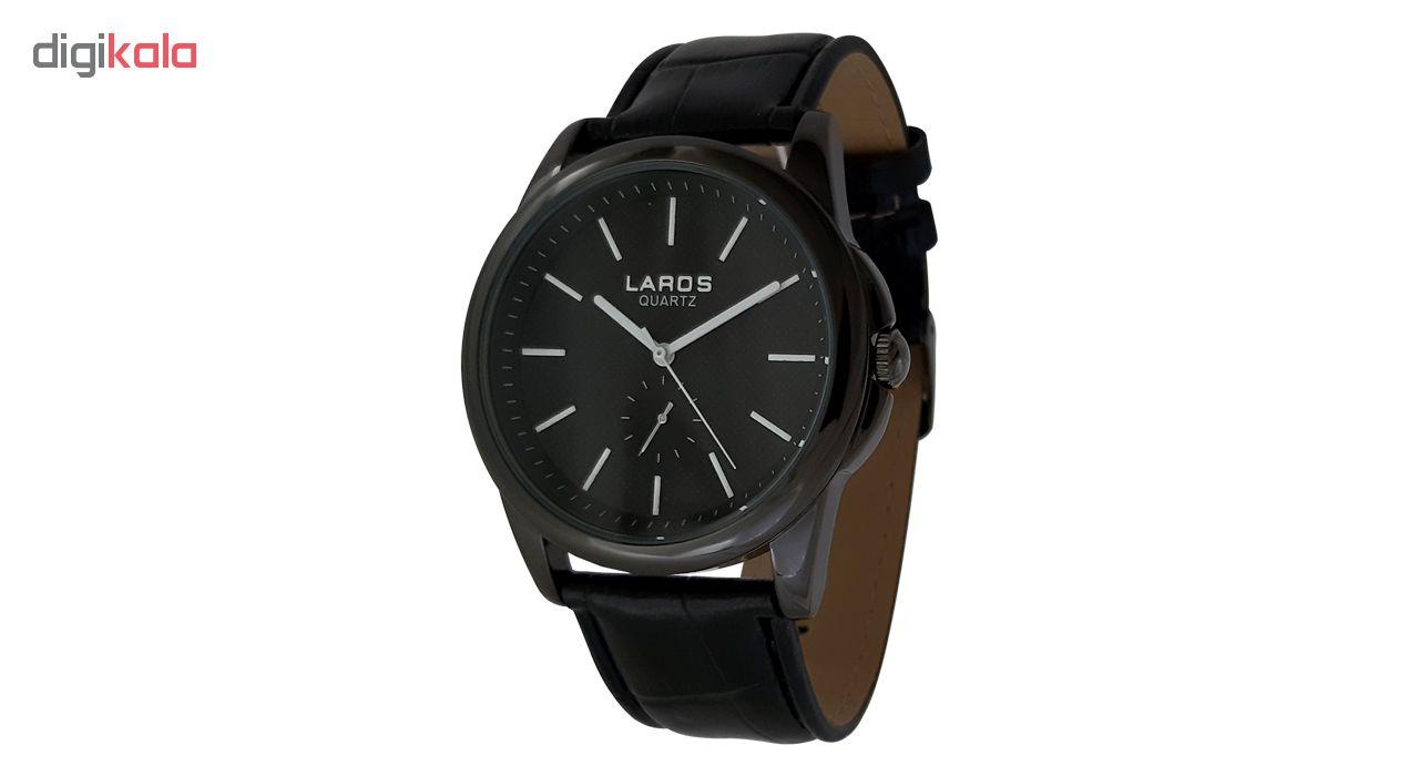 خرید ساعت مچی عقربه ای مردانه لاروس مدل 1117-80119-s به همراه دستمال مخصوص برند کلین واچ