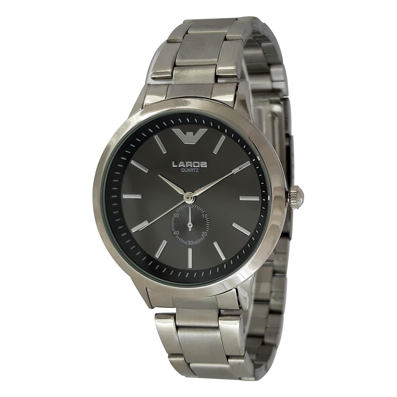 ساعت مچی عقربه ای مردانه لاروس مدل 1116-79965 به همراه دستمال مخصوص برند کلین واچ 36