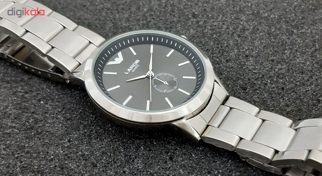 ساعت مچی عقربه ای مردانه لاروس مدل 1116-79965 به همراه دستمال مخصوص برند کلین واچ