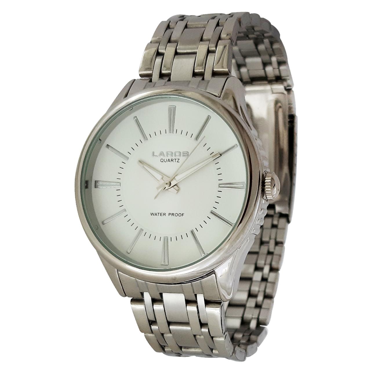 ساعت مچی عقربه ای مردانه لاروس مدل 0817-79877 به همراه دستمال مخصوص برند کلین واچ 9