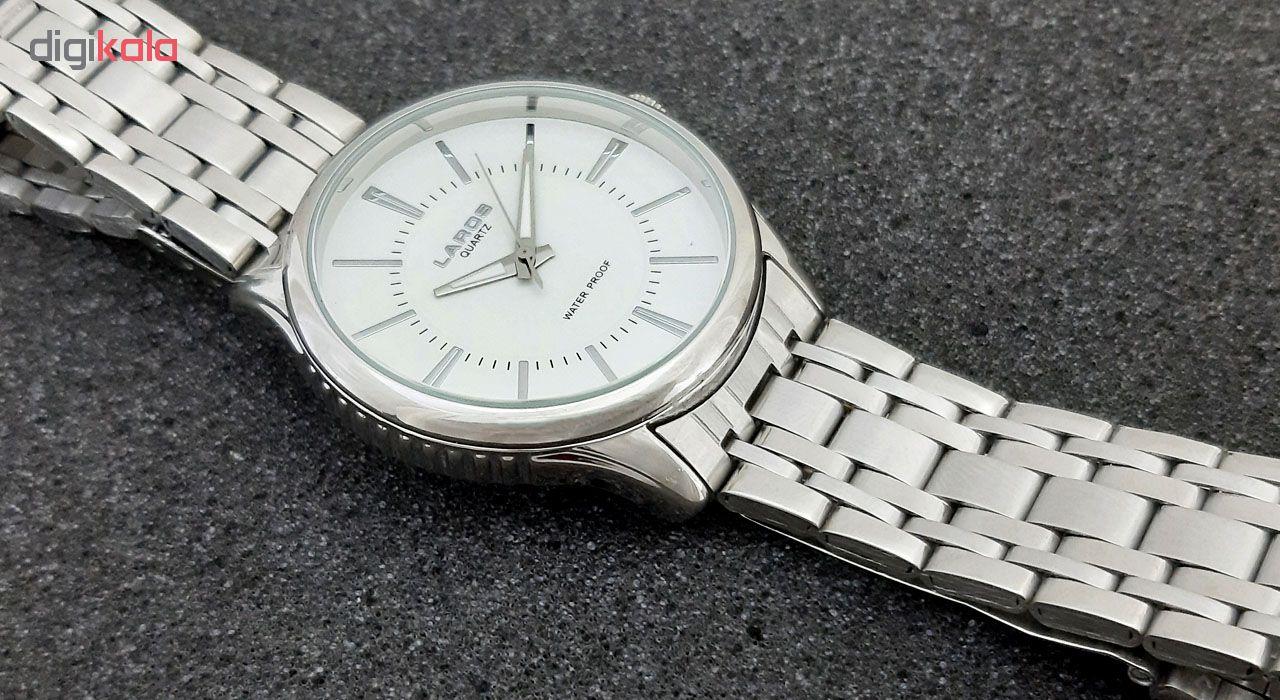 ساعت مچی عقربه ای مردانه لاروس مدل 0817-79877 به همراه دستمال مخصوص برند کلین واچ