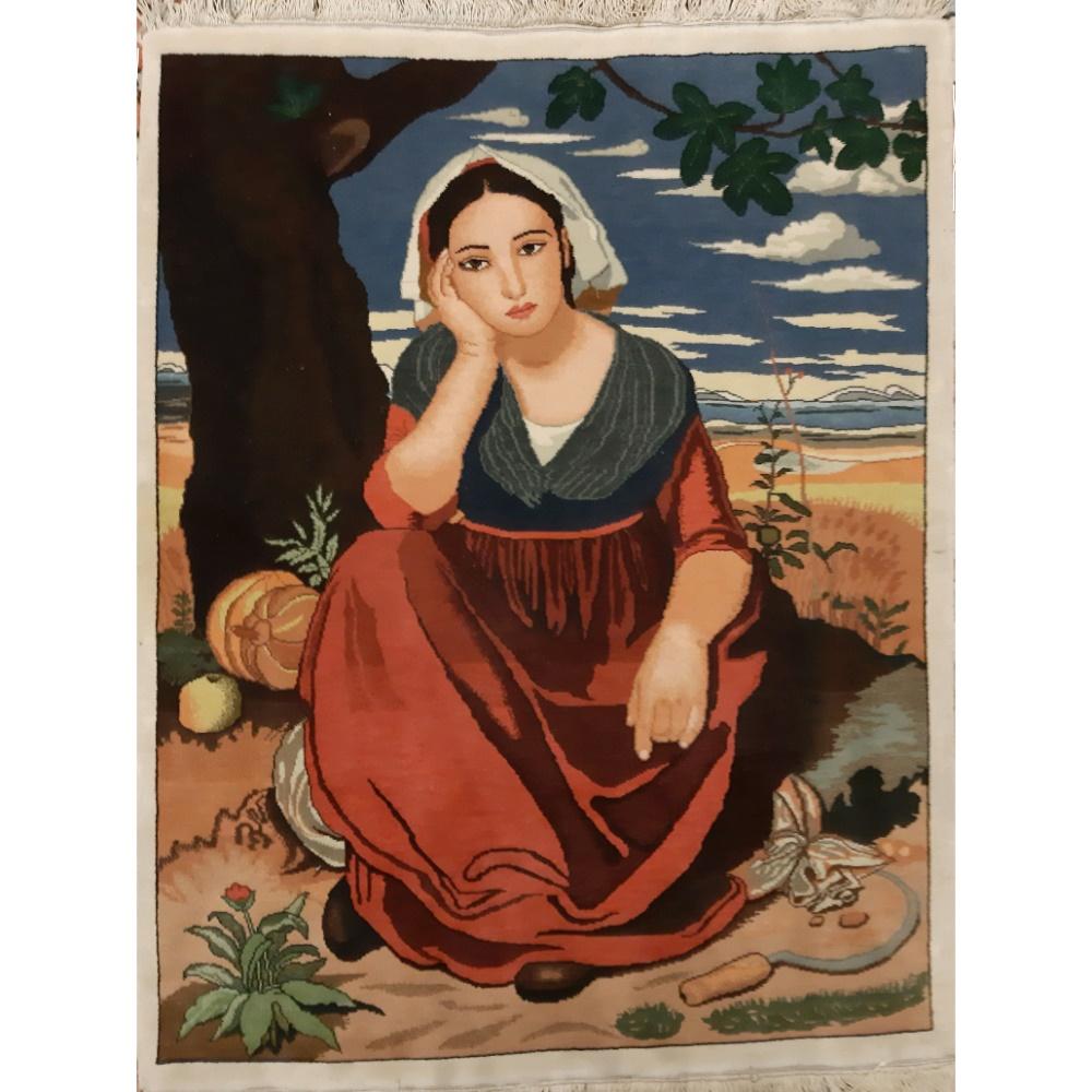 تابلو فرش دستبافت قدیمی طرح دختر دهقان کد  110221