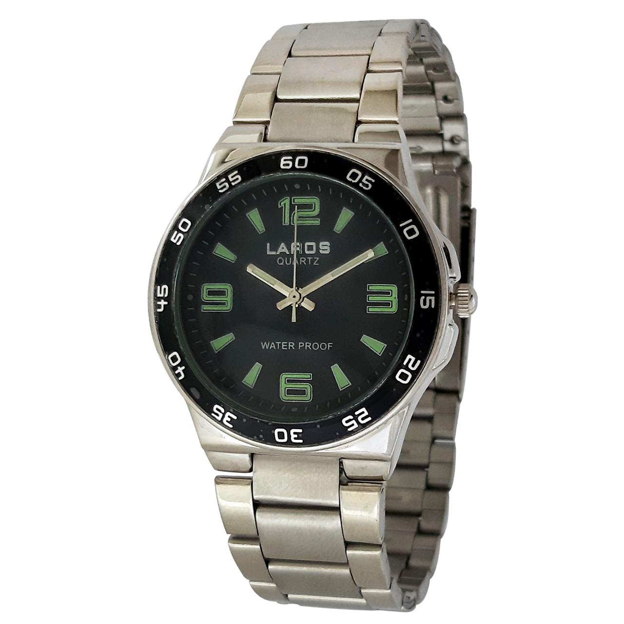 ساعت مچی عقربه ای مردانه لاروس مدل 812-73595 به همراه دستمال مخصوص برند کلین واچ