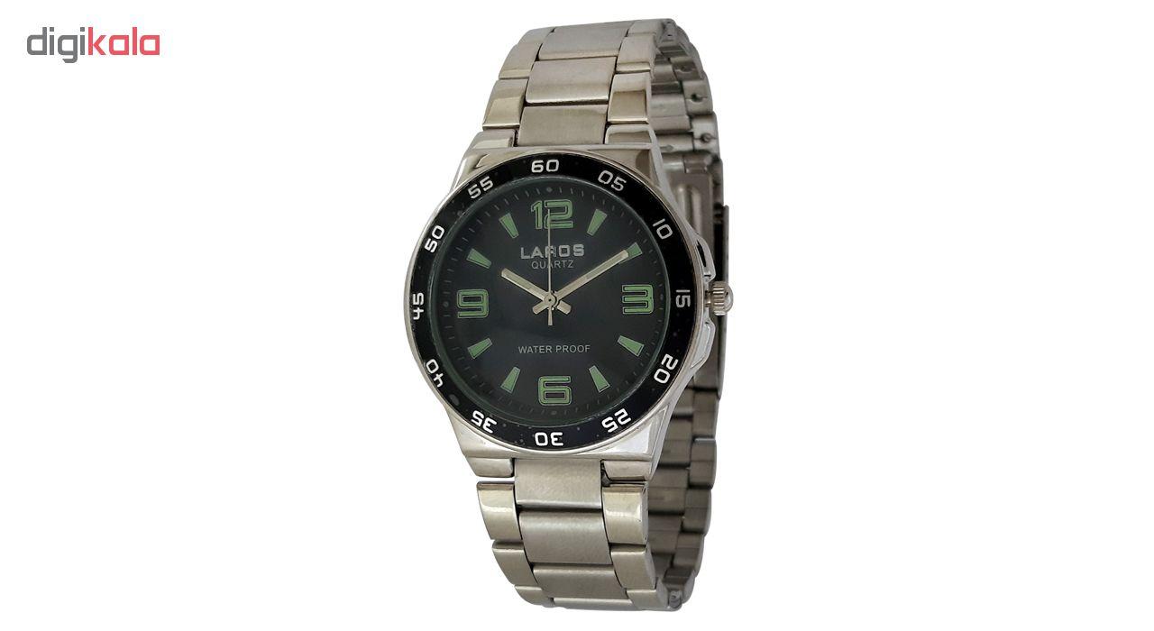 خرید ساعت مچی عقربه ای مردانه لاروس مدل 812-73595 به همراه دستمال مخصوص برند کلین واچ