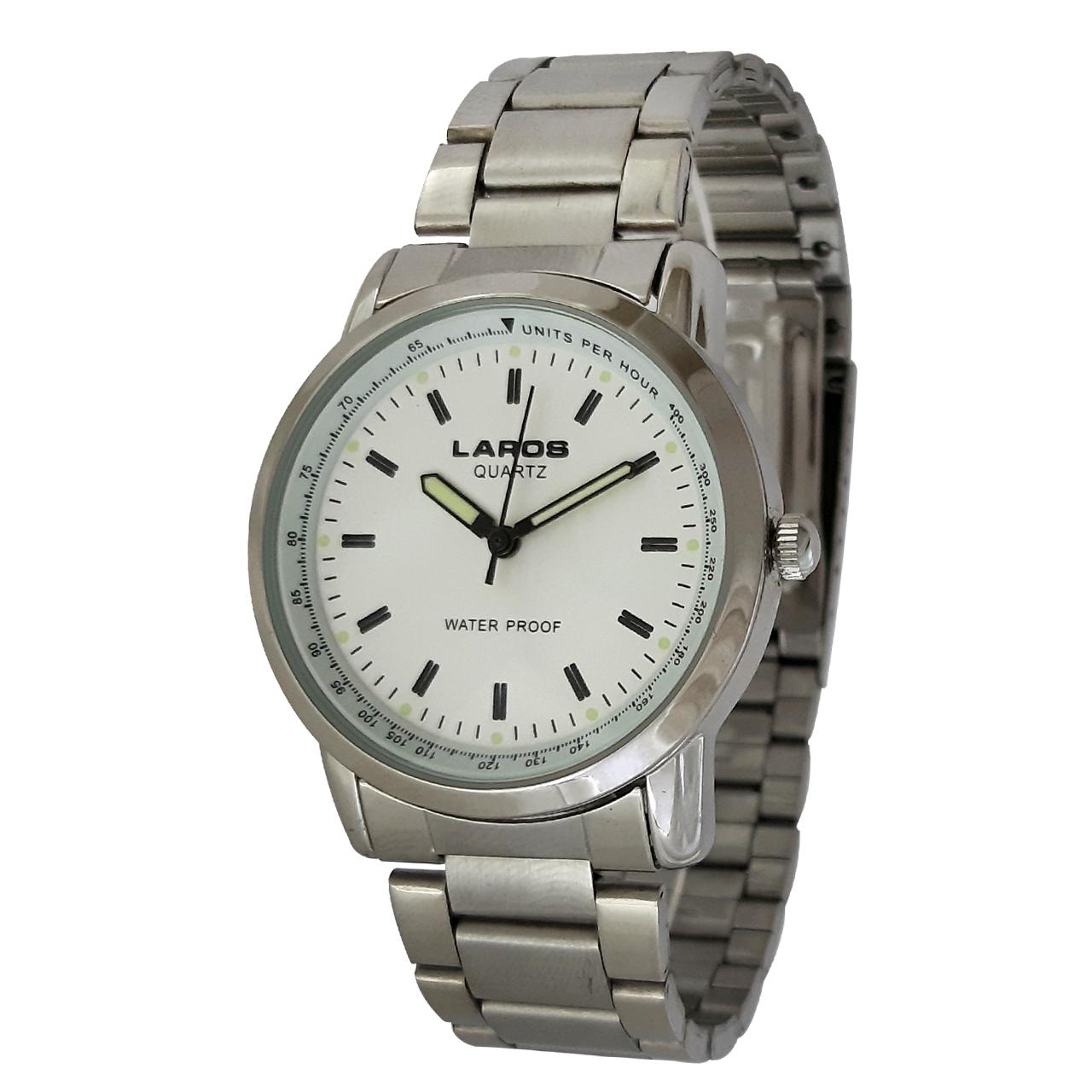 ساعت مچی عقربه ای مردانه لاروس مدل 1216-73483 به همراه دستمال مخصوص برند کلین واچ