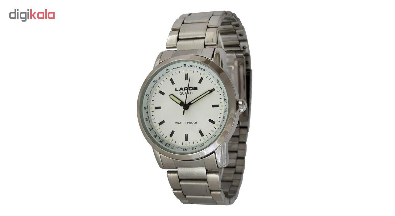 خرید ساعت مچی عقربه ای مردانه لاروس مدل 1216-73483 به همراه دستمال مخصوص برند کلین واچ