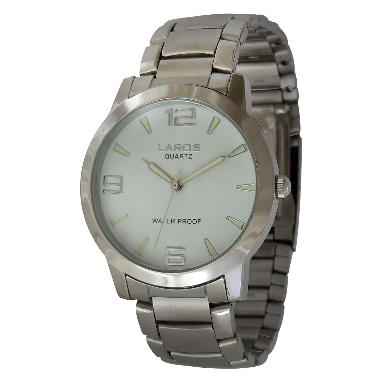 ساعت مچی عقربه ای مردانه لاروس مدل 1216-73863 به همراه دستمال مخصوص برند کلین واچ