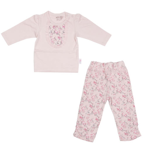 ست 2 تکه لباس نوزادی نیلی طرح گل رز