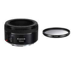 لنز کانن مدل EF 50mm f/1.8 STM به همراه فیلتر لنز یو وی 49 کانن