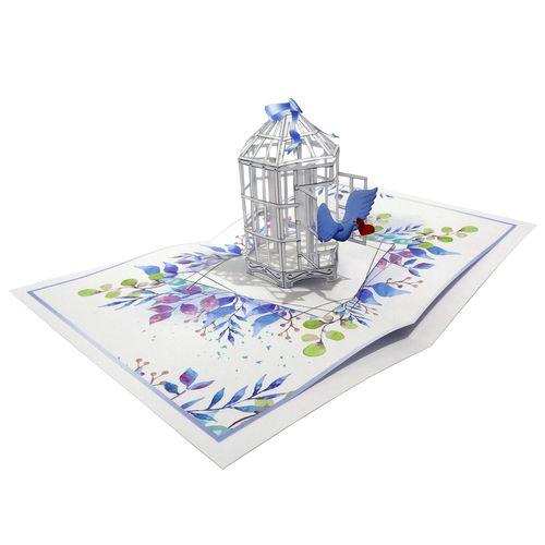 کارت پستال سه بعدی طرح پرنده و قفس کد CP001