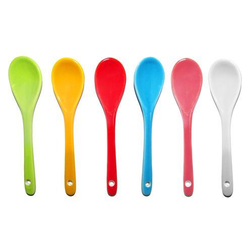 پیمانه ادویه و قاشق چایخوری سرامیکی مدل رنگین کمان مجموعه 6 عددی به همراه جا کلیدی برج ایفل