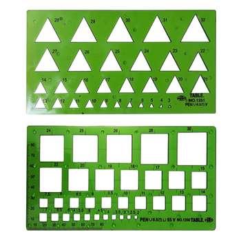 شابلون مربع تیبل کد1350 به همراه شابلون مثلث تیبل کد 1351