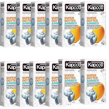 کاندوم کاپوت مدل supper dotted بسته 12 عددی