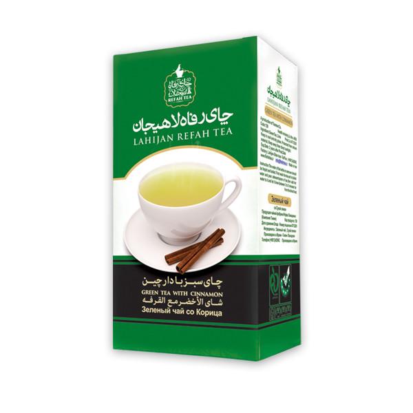 چای سبز رفاه لاهیجان با طعم دارچین مقدار 210 گرم