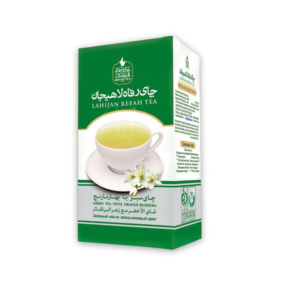 چای سبز رفاه لاهیجان با طعم بهارنارنج مقدار 210 گرم