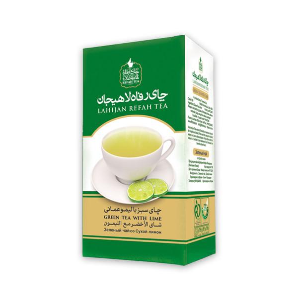 چای سبز رفاه لاهیجان با طعم لیمو امانی مقدار 210 گرم