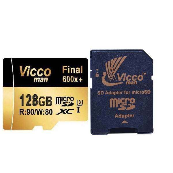 کارت حافظه microSDHC ویکو من مدل Final 600x کلاس 10 استاندارد UHS-I U3 سرعت 90MBps ظرفیت 128 گیگابایت همراه با آداپتور SD