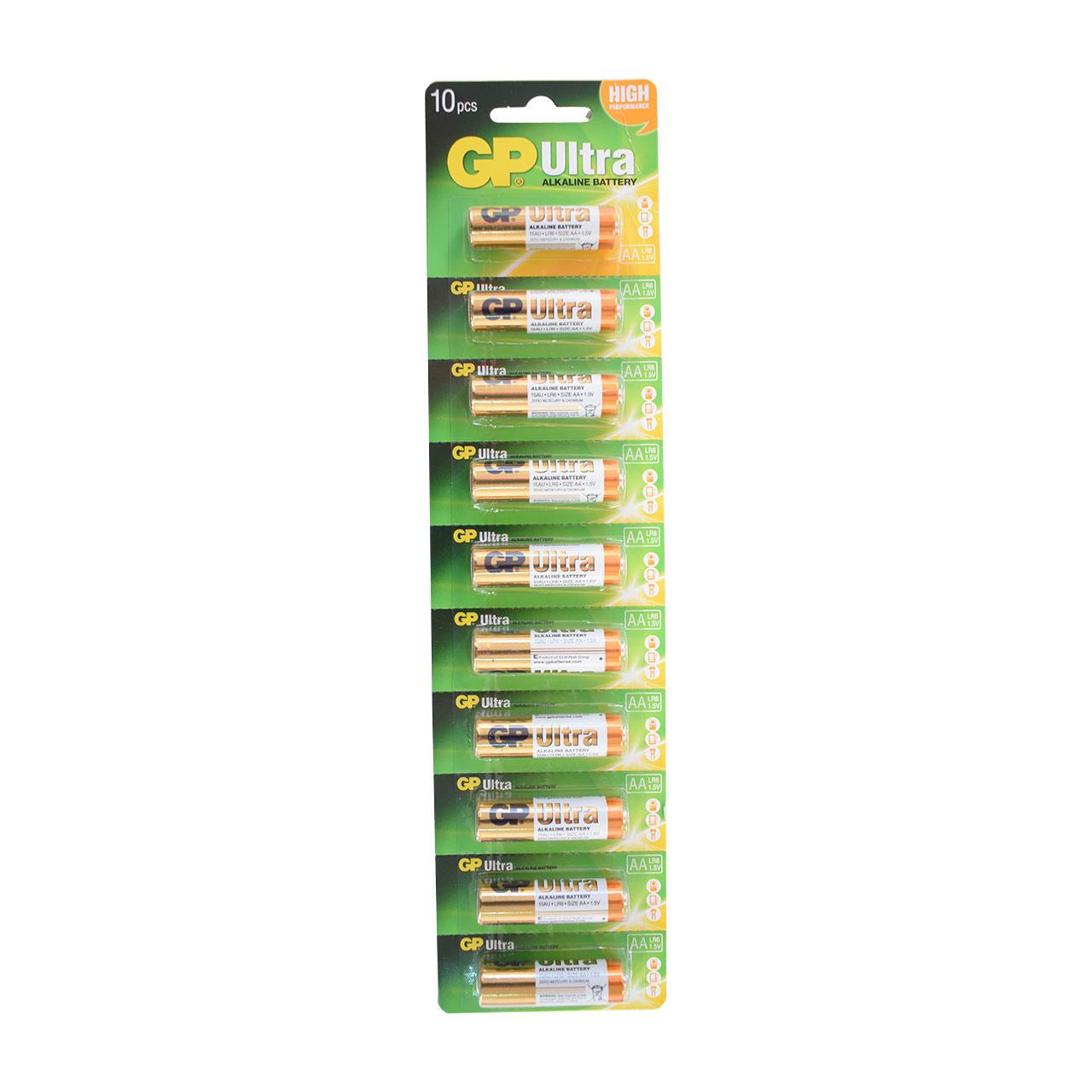 باتری قلمی جی پی اولترا کد 001 بسته 10 عددی