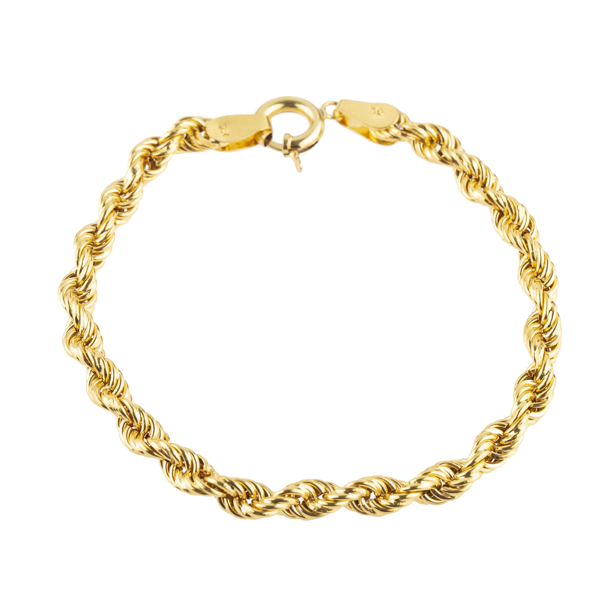 دستبند طلا 18 عیار کد B103 طنابی