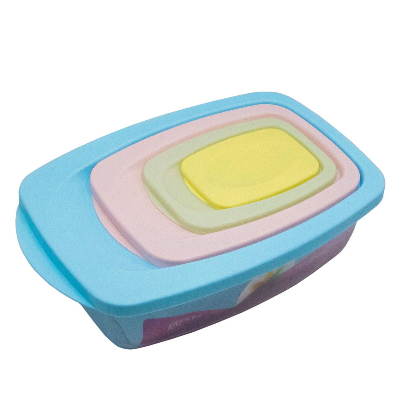 ظروف پلاستیکی تاپکو مدل فلورا کد A1002 مجموعه 4 عددی