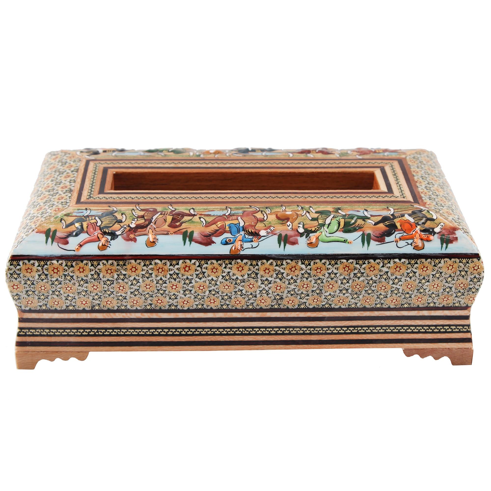 جعبه دستمال کاغذی گالری مثالین طرح شکار برجسته کد 141228