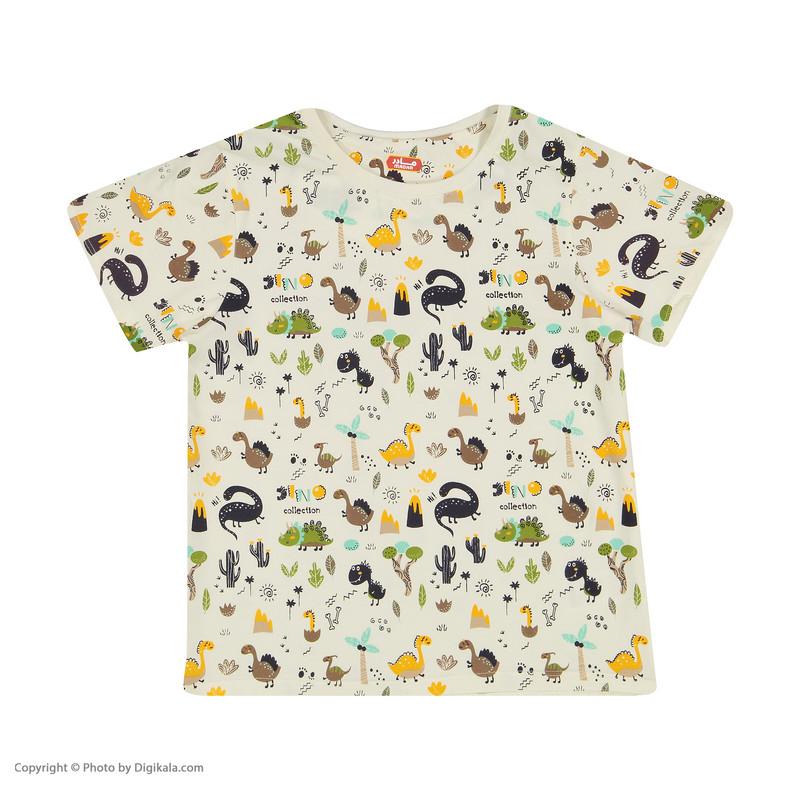 ست تی شرت و شلوارک راحتی پسرانه مادر مدل 2041110-07