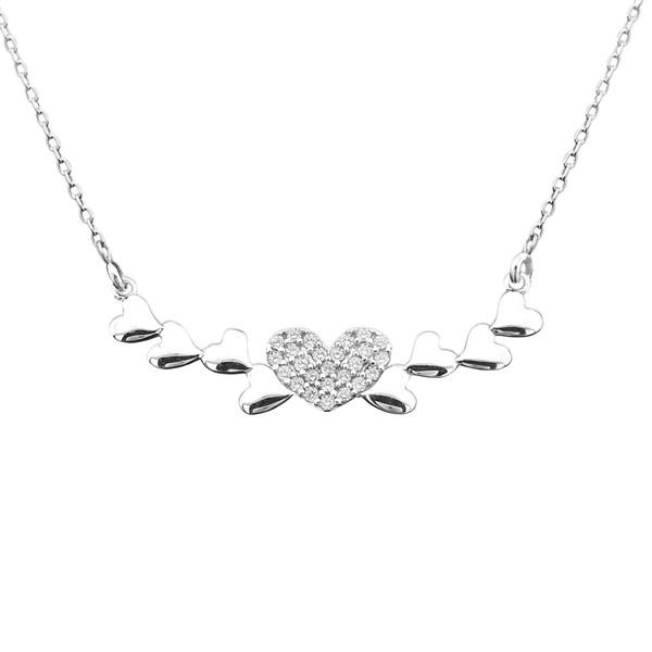 گردنبند نقره طرح قلب و عشق کد FL 166