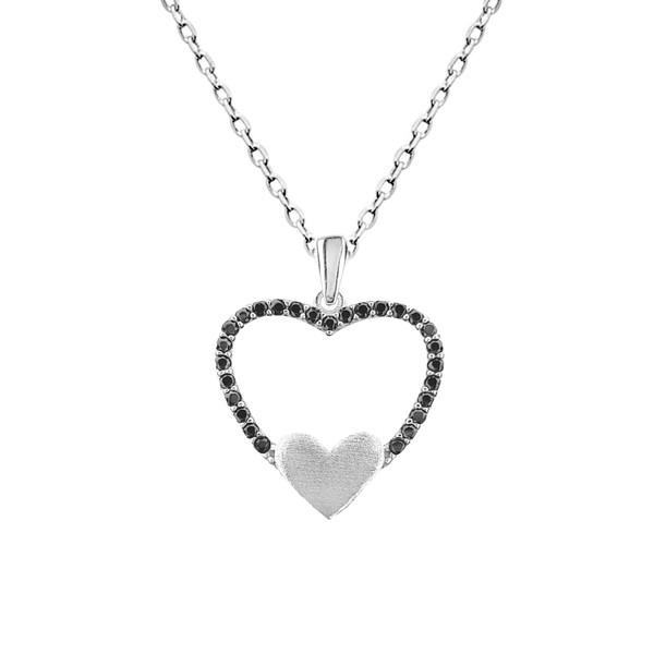گردنبند نقره طرح قلب و عشق کد FL 164