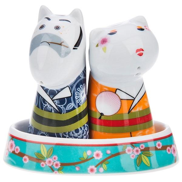سرویس نمک و فلفل Multiplechoice طرح گربه و سگ اخمو کد 20160