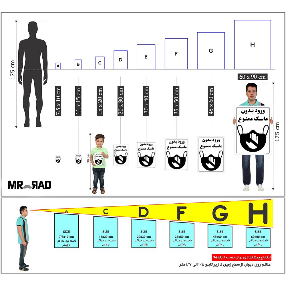 برچسب ایمنی FG طرح ورود بدون ماسک ممنوع کد HSE1306