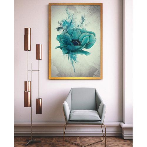 تابلو  طرح گل شقایق آبی کد AX14182