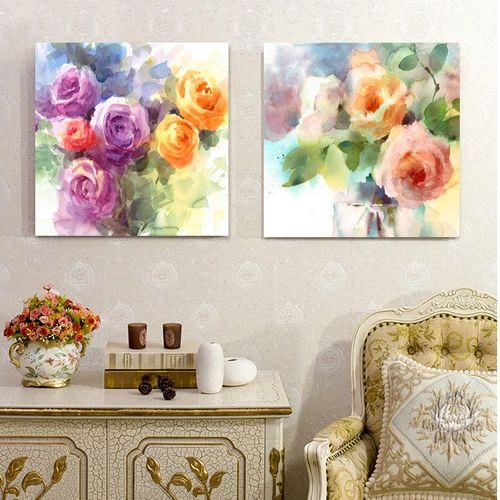 تابلو شاسی 2 تکه طرح گل های رز رنگی کد AX14183