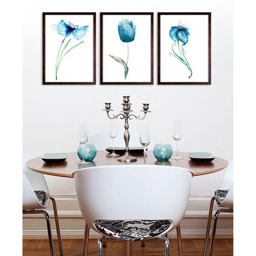 تابلو 3 تکه طرح گل شقایق آبی کد AX14185
