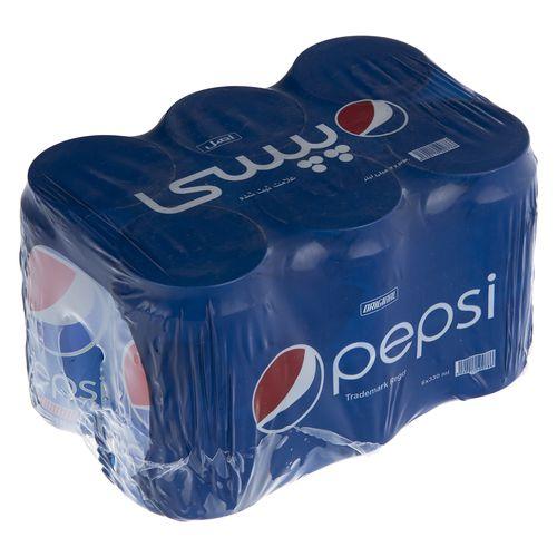 نوشابه گاز دار با طعم کولا پپسی بسته 6 عددی