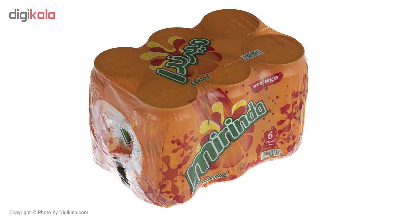 نوشابه گاز دار با طعم پرتقالی میرندا مقدار 0.33 لیتر بسته 6 عددی